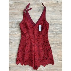 KENDALL & KYLIE Burgundy Lace Romper